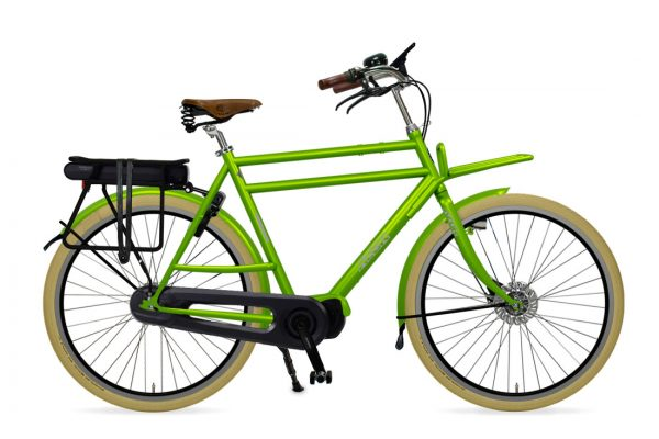 Azor Ameland E-Bike Gents Apple Green Glosse - Amsterdam Bicycle Company
