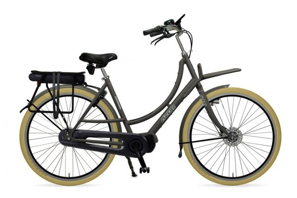 Azor Ameland E-Bike Ladies Granite Grey Matte - Amsterdam Bicycle Company