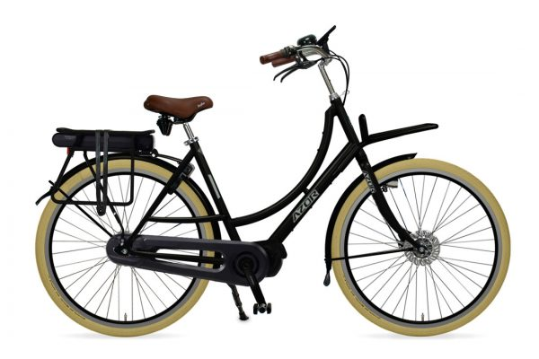 Azor Ameland E-Bike Ladies High Gloss Black - Amsterdam Bicycle Company