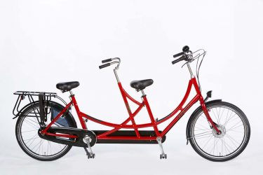 Azor Tandem Bicycle Long Bright Red Gloss - Amsterdam Bicycle Company
