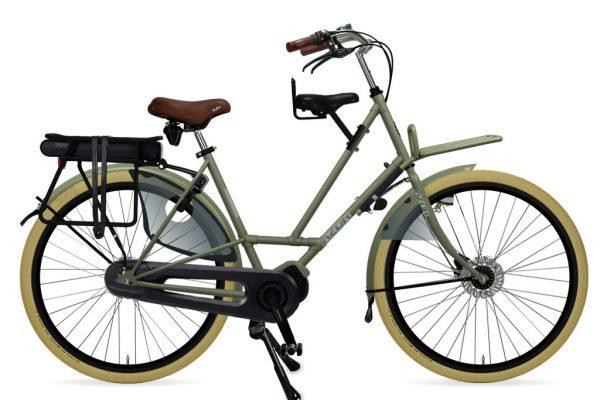 Azor Texel E-Bike Ladies Olive Green Matte 2021 - Amsterdam Bicycle Company