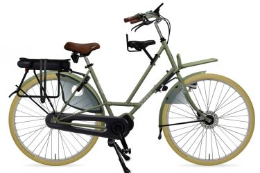 Azor Texel E-Bike Ladies Olive Green Matte - Amsterdam Bicycle Company