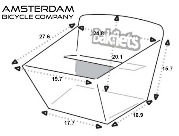 Cargo Box Compact - Dimensions (inches) - Amsterdam Bicycle Company