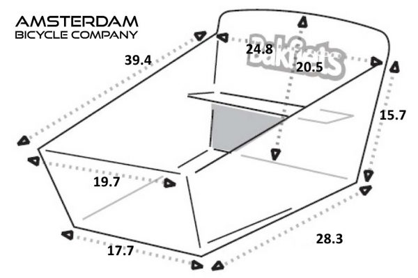 Cargo Box Long - Dimensions (inches) - Amsterdam Bicycle Company