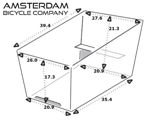 Cargo Box Trike Narrow - Dimensions (inches) - Amsterdam Bicycle Company
