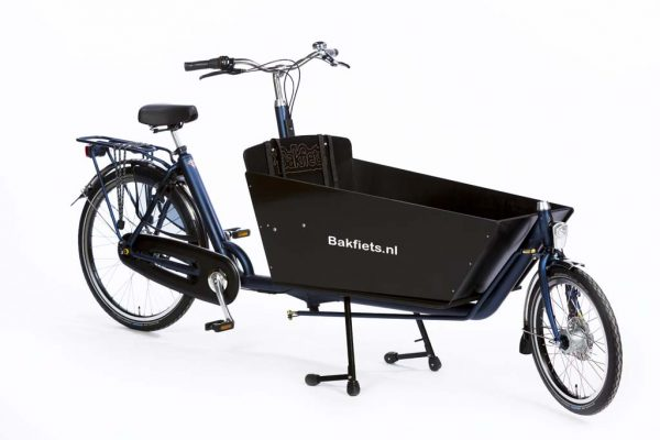 Cargo Classic Long Denim Blue Matte - Black Cargo Box - Classic Full-Size Cargo Bike - Amsterdam Bicycle Company