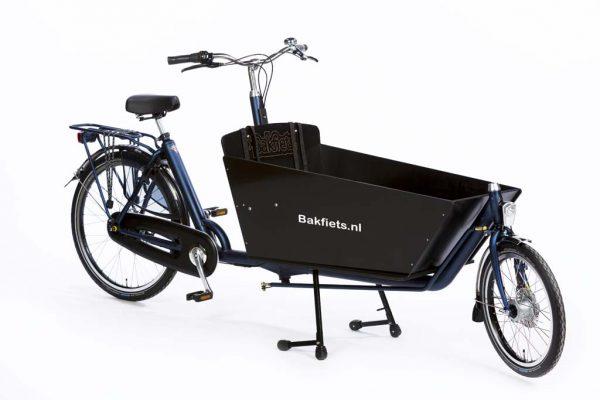 Cargo Classic Long Denim Blue Matte - Black Cargo Box - Classic Full-Size Cargo Bike - Amsterdam Bicycle Company