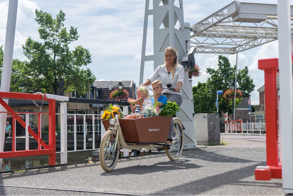 Cargo bike with kids and flowers