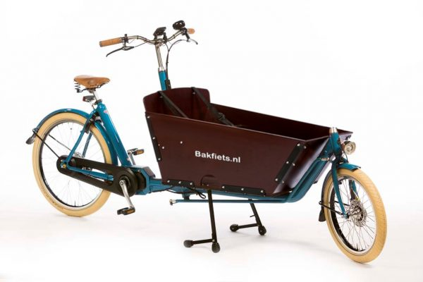 E-Cargo Cruiser Long Pearl Blue Metallic Gloss Bolted Box - Vintage Full-Size Electric Cargo Bike with Bolted Box