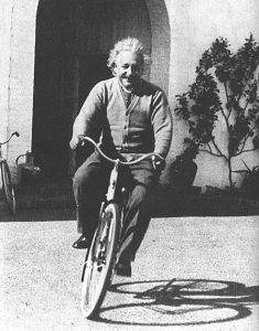 Albert Einstein on a Dutch style bicycle