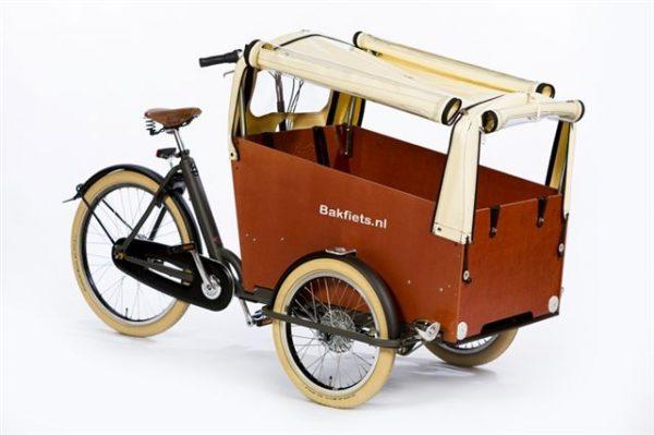 Rain cover (E-)Cargo Trike Wide - Creme Open1 - Amsterdam Bicycle Company