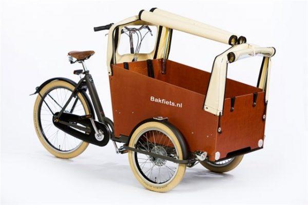Rain cover (E-)Cargo Trike Wide - Creme Open3 - Amsterdam Bicycle Company